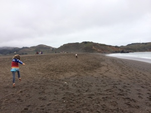 Typical beach outing; sweaters and running away from Mommy.